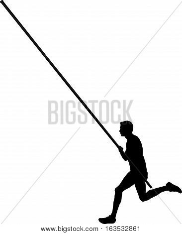 black silhouette of a male athlete pole vaulting