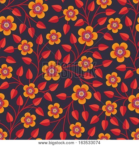 Decorative seamless pattern with bright orange flowers with a lot of stamens and red leaves on dark purple background