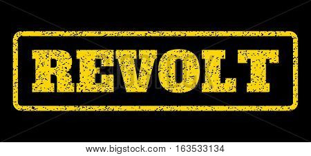 Yellow rubber seal stamp with Revolt text. Vector tag inside rounded rectangular banner. Grunge design and dirty texture for watermark labels. Horisontal sign on a blue background.
