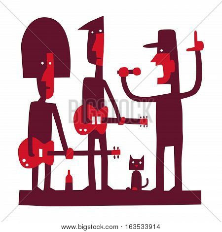 Three rock musicians, rock band with singer, cartoon vector illustration on white