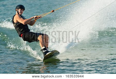 Young Man On Wakeboard