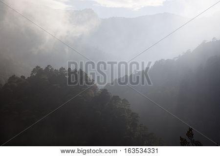 Fog on the mountain. Los Ports mountain