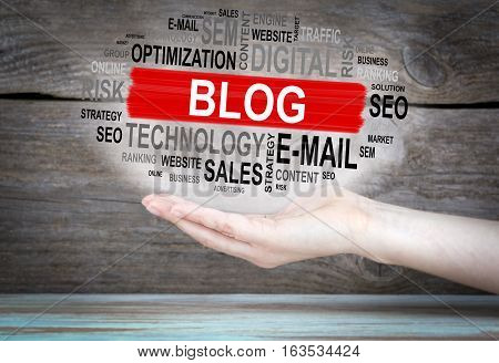 Blog concept. Word cloud in female hand.