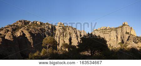 Sunset on the panoramic mountain. Teruel province