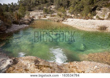 waterfall in Ulldemo river. Teruel province. Spain