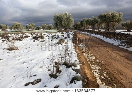 Snow on the way in Valderrobres. Teruel province