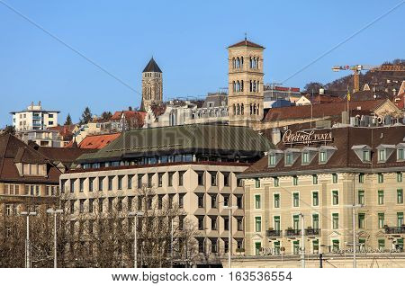 Zurich, Switzerland - 27 December, 2016: view over the Limmat river towards Central square in wintertime. Zurich is the largest city in Switzerland and the capital of the Swiss Canton of Zurich.