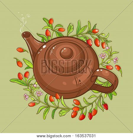 goji berries tea in teapot on color background
