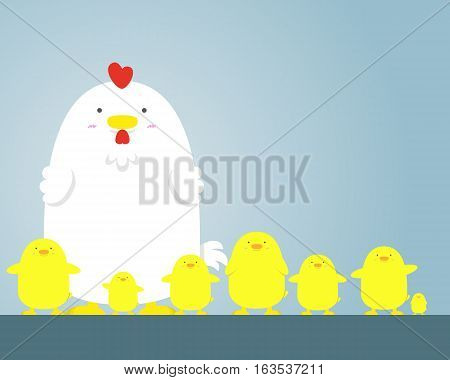 cute big fat white hen and chicken on blue background.