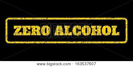 Yellow rubber seal stamp with Zero Alcohol text. Vector caption inside rounded rectangular shape. Grunge design and dust texture for watermark labels. Horisontal sticker on a blue background.