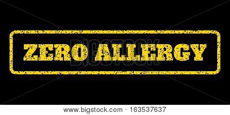 Yellow rubber seal stamp with Zero Allergy text. Vector message inside rounded rectangular frame. Grunge design and dirty texture for watermark labels. Horisontal sticker on a blue background.