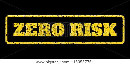 Yellow rubber seal stamp with Zero Risk text. Vector message inside rounded rectangular banner. Grunge design and scratched texture for watermark labels. Horisontal emblem on a blue background.
