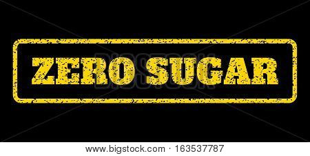 Yellow rubber seal stamp with Zero Sugar text. Vector caption inside rounded rectangular frame. Grunge design and scratched texture for watermark labels. Horisontal sign on a blue background.