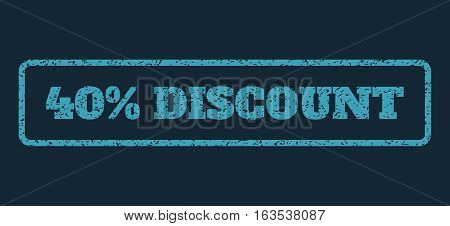 Blue rubber seal stamp with 40 Percent Discount text. Vector caption inside rounded rectangular shape. Grunge design and dust texture for watermark labels. Horisontal emblem on a dark blue background.