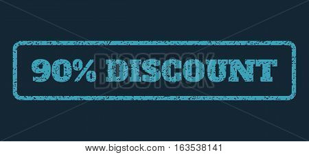 Blue rubber seal stamp with 90 Percent Discount text. Vector tag inside rounded rectangular shape. Grunge design and dirty texture for watermark labels. Horisontal sticker on a dark blue background.