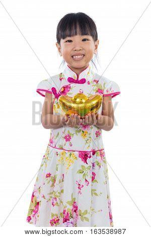 Asian Chinese Little Girl Wearing Cheongsam Holding Gold Ingot