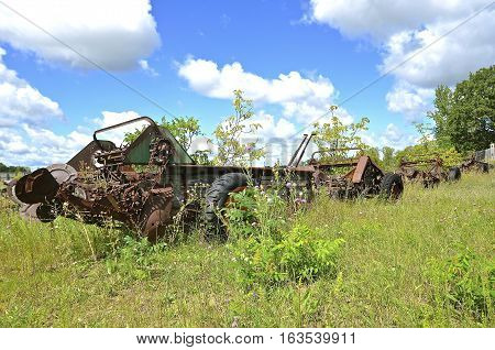 A row of old rusty manure spreaders are surrounded by shrubs and bushes in a pasture