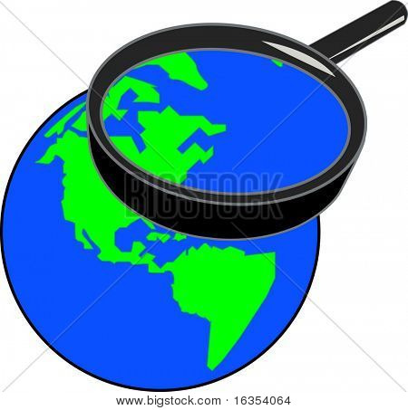 magnifying glass enlarging part of the globe - vector