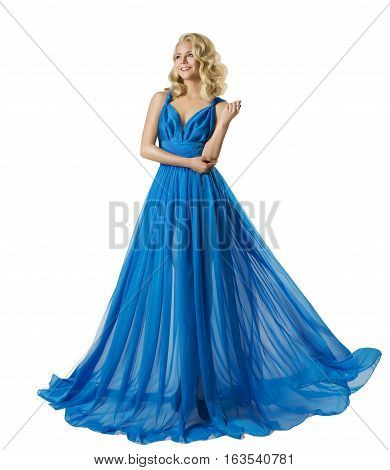 Woman Fashion Long Prom Dress Elegant Girl in Ball Gown Blue Clothes Isolated over white background