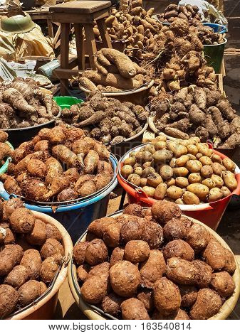 Different root vegetables and potatoes for sale from buckets on local market in Cameroon, Africa.