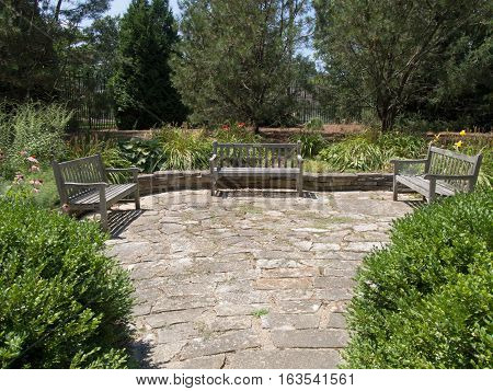 Courtyard with Three Benches at a park in Westerville Ohio