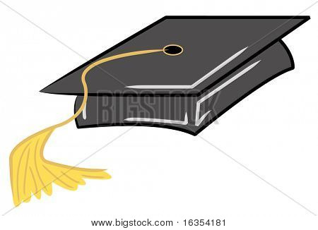 black graduation cap with gold tassel - vector