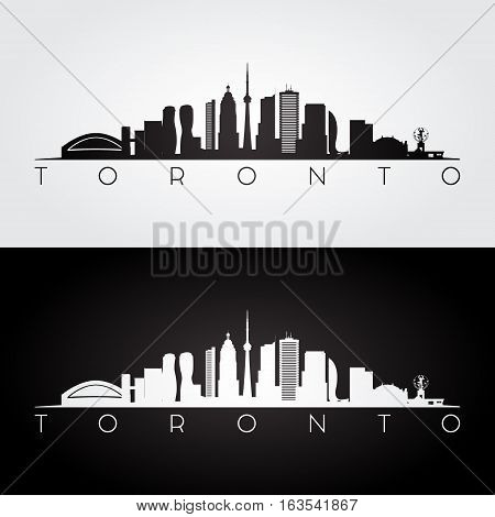 Toronto skyline and landmarks silhouette black and white design vector illustration.