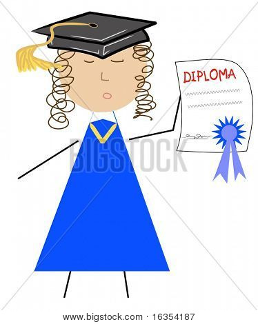 school graduate with diploma and cap - vector