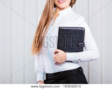 Young Woman Office Worker Hold Case With Files.