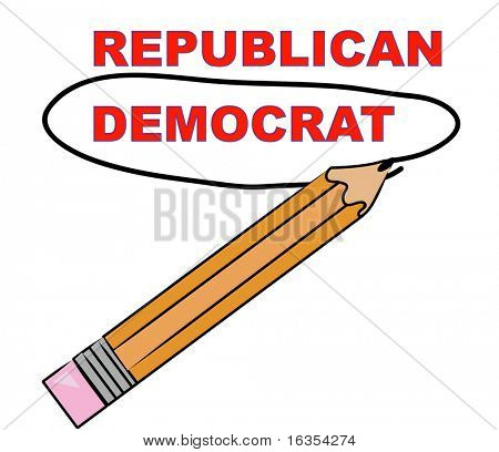 pencil choosing democrat over republican - vector