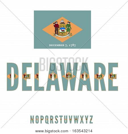 Delaware National Flag stylized Font. Alphabet second part Vector Set