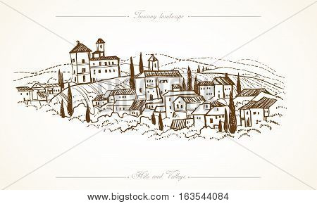 Tuscany landscape with fields hills. Horizontal hand drawn vineyard or olives gardens rural landscape. Travel sketch old farm house. For farmer brochure travel label. Vector illustration stock vector