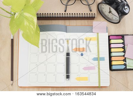 business Calender Planner meeting 2017 on desk office. organization management remind concept.