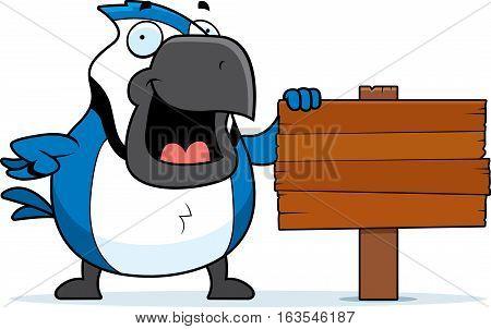 Cartoon Blue Jay Sign