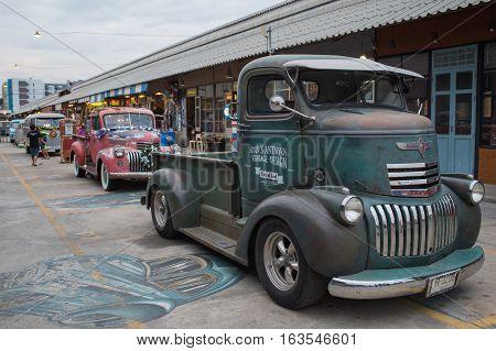 Old Vintage Green Chevrolet Truck At Night Market, Srinakarin Road