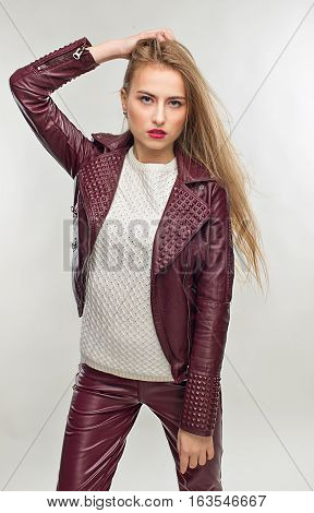 Student Girl In Stylish  Spring Casual Clothing.  In Leather