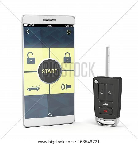 Smartphone with car control app and car key on white background, 3D illustration