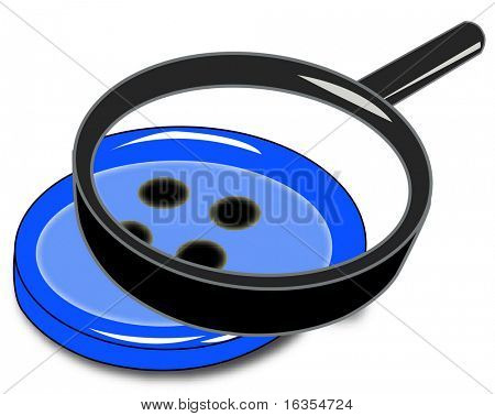 close up of button with magnifying glass