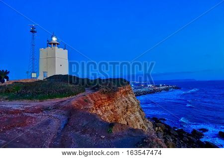 Capo Roche, Spain, December 9, 2016: The lighthouse at Capo Roche near Conil de la Frontera in Spain.