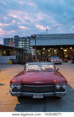 Old Vintage Brown Car At Night Market, Srinakarin Road