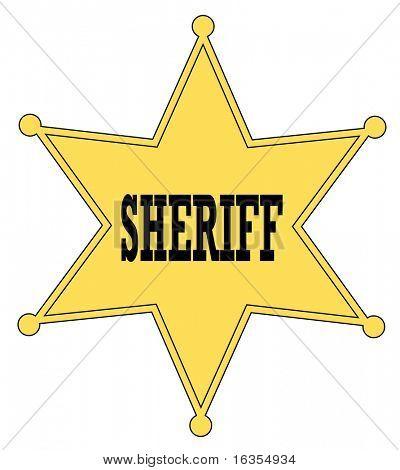 emblema de ouro estrela xerife do velho oeste - vector