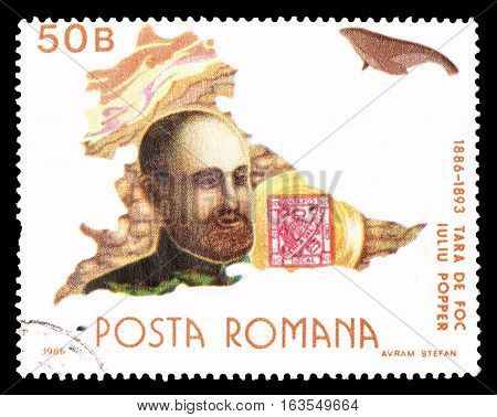ROMANIA CIRCA 1986 : Cancelled postage stamp printed by Romania, that shows Iuliu Popper.