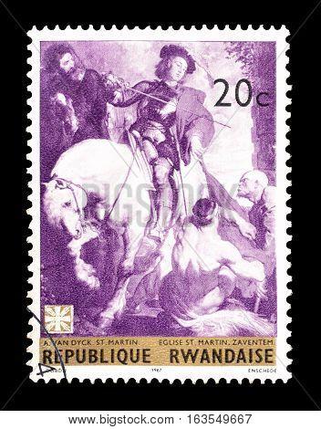 RWANDA- CIRCA 1967 : Cancelled postage stamp printed by Rwanda, that shows Saint Martin.