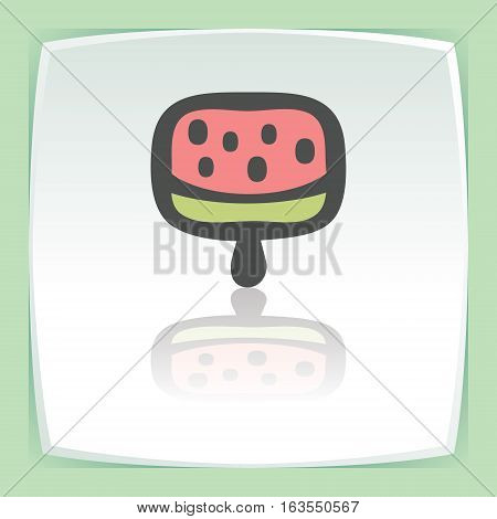 Vector outline fruit ice cream lolly food icon on white flat square plate. Elements for mobile concepts and web apps. Modern infographic logo and pictogram.
