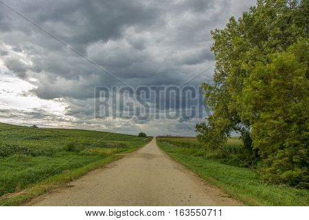 A straight and narrow rural road stetches to the horizon amidst green fields beneath a summer sky threatening rain.