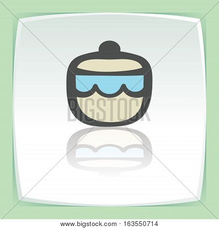 Vector outline sugar or jam bowl icon on white flat square plate. Elements for mobile concepts and web apps. Modern infographic logo and pictogram.