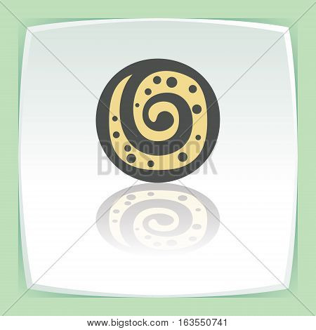 Vector outline sweet roll cookie food icon on white flat square plate. Elements for mobile concepts and web apps. Modern infographic logo and pictogram.