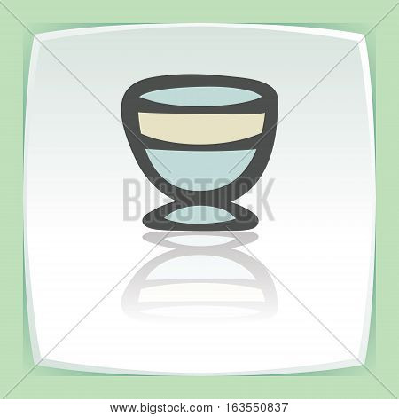 Vector outline ice cream bowl icon on white flat square plate. Elements for mobile concepts and web apps. Modern infographic logo and pictogram.
