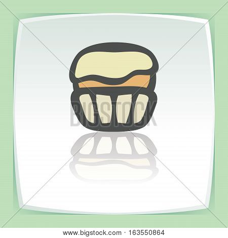 Vector outline cupcake with cream food icon on white flat square plate. Elements for mobile concepts and web apps. Modern infographic logo and pictogram.