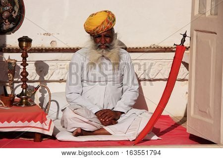 Jodhpur, India - February 11: An Unidentified Man Sits At Mehrangarh Fort On February 11, 2011 In Jo